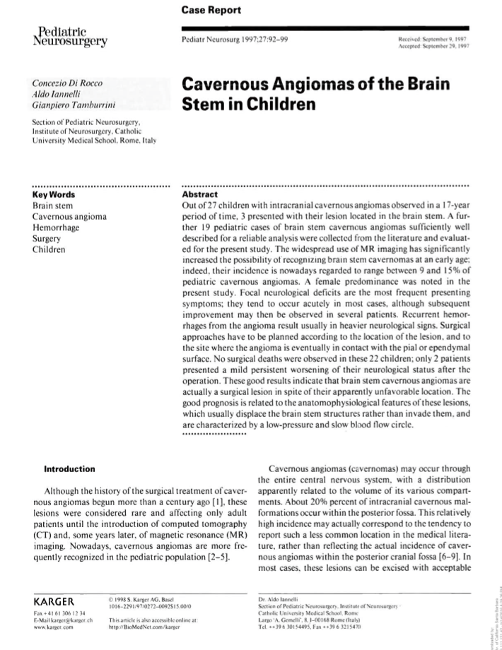 儿童脑干海绵状血管瘤(Cavernous Angiomas of the Brain Stem in Children)