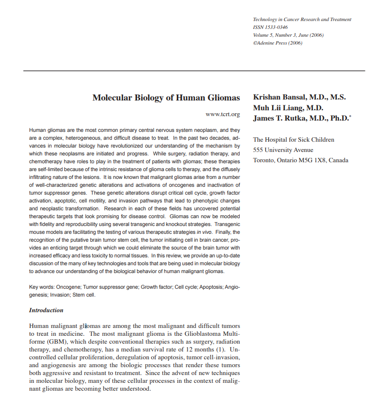 人类胶质瘤的分子生物学(Molecular Biology of Human Gliomas)