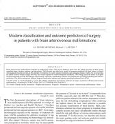 脑动静脉畸形手术的现代分类及预后预测