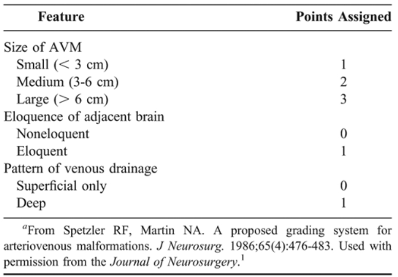 脑动脉瘤Spetzler-Martin评分系统